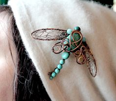 Copper Dragonfly Brooch