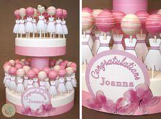 pink bridal shower cake, bridal shower ideas, pink cakepop, cake decor, bachelorette cake pops, bridal shower cake pops, bridal cakes, bridal showers, bridal shower cakes