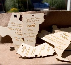 Get guests excited about your destination wedding with a save-the-date in the shape of your wedding state