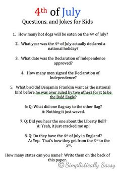Forth of July Fact Sheet for Kids by Simplistically Sassy