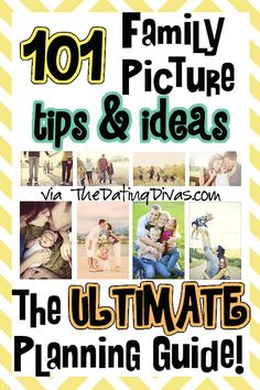 Everything from choosing your props, poses, and clothes...all the way to tips for looking good and getting your kids to cooperate.  PLUS a free printable picture planner! www.TheDatingDivas.com #familypictures #freeprintable #datingdivas