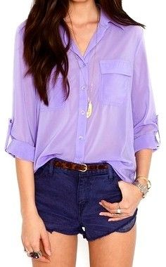 short, fashion, summer outfit, shades of purple, color combos, button, blous, comfy casual, shirt