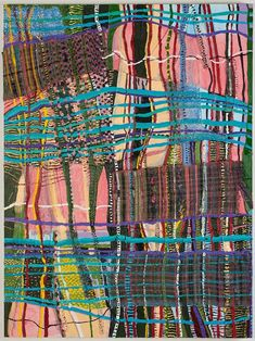 Stacey Piwinski | Object of Labor #4 | Handwoven fabric, string, plastic pellets, and oil on canvas, 2012 | http://www.staceypiwinski.com/