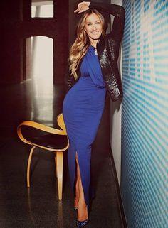 Sarah Jessica Parker with a Maria Valentina Blue Maxi Bodycon Dress