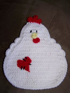 Crocheted Chicken potholder/hotpad with stitched heart patch