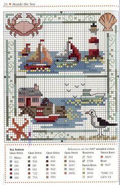 crossstitch, sea, nautic cross, lighthous, cross stitch nautical