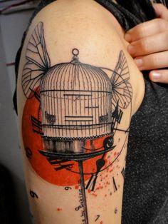 bird cage tattoo Xoïl, Needles Side TattOo tattoo ideas