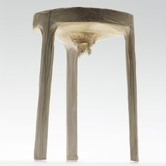 Berlin designer Jannis Hülsen upholstered this stool by using bacteria to grow a cellulose skin over its surface. Called Xylinum after the bacterium used to create it, the furniture is immersed in a tank while the bacteria consumes sugar and builds a cellulose fibre structure. Once finished it can be dried out to form a material that's 100% biodegradable http://www.jannishuelsen.com/