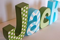 I like the stripped chevron in this one, but with a more girly color! The second letter