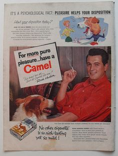 1950s ROCK HUDSON Camel Cigarettes Vintage Advertisement Smoking by Christian Montone, via Flickr
