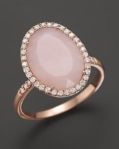 Meira T Pink Opal Rose Gold and Diamonds Ring