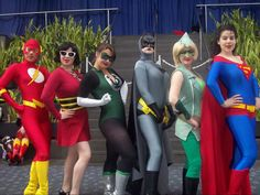 Rule 63 cosplays of Flash, Plastic Man, Green Lantern, Batman, Green Arrow, and Superman (misskitquinn).  Submitted by poison-x-ivy    My gorgeous gals!