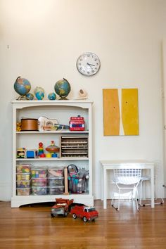 Simple Play area in living room; great toy ideas for a toddler