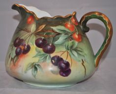 Antique Bavarian Hand Painted Cider Pitcher From The Skilled Artisans Of Jaeger  Co. Of Marktredwitz, Bavaria, Featuring A Brilliant And Richly Multi  Color Cherries Theme And The Base Carries The 1902-1908 J.  C. Clover Stamp