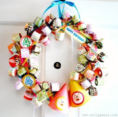 Party blower birthday wreath how-to