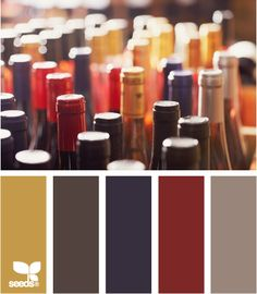 Corked Hues: Mustard Yellow, Dark Gray, Deep Plum Purple, Rusted Red and Taupe Grey
