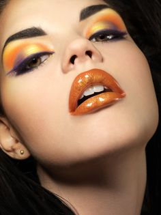 #EyeMakeup #EyeShadow #MakeupTips #BeautyBook Hot look using orange and violet shades on eyes and lips.  Do you love this combo of eye & lip shades?  Share about your favorite combinations to us. dramatic makeup, style boards, makeup tools, makeup lips, lip colors, glamorous makeup, beauti, beauty, eyes