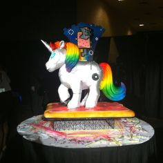 The unicorn cake at sparklecon. So awesome!! #blogher12