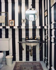 dream bathrooms, dream homes, audrey hepburn, black white, striped walls, white bathrooms, bathroom walls, powder rooms, guest bathrooms