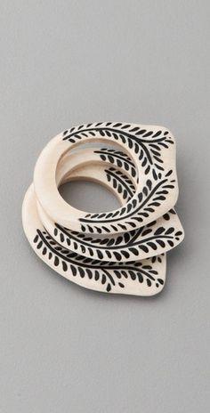Jacquie Aiche Bone Stacker Rings...love the black & white scheme
