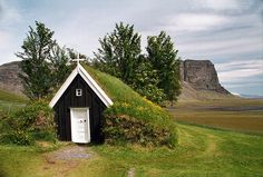 One of the oldest churches in Iceland. The mountain Lómagjúpur is in the background.