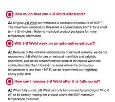 FAQs about J-B Weld found here: http://www.jbweld.com/faqs/
