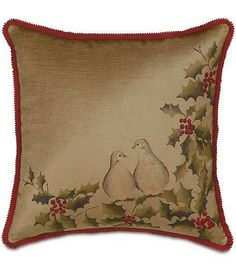 Add color, texture, and whimsy to your home with this season with handmade Two Turtle Doves Pillow.