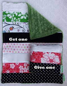Baby Girl Sensory Security Blanket Lovey - in the garden - Get One, Give One to babies in Kenya, Africa, $30.00
