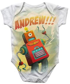 Personalized Robot Onesie -- best geeky baby gift ever!