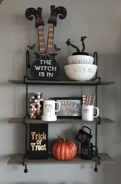 My Halloween Display. Rae Dunn. Hocus Pocus, Witches Brew, Trick or Treat, Happy Halloween, Pumpkin Spice. Rack Kirklands. Homegoods
