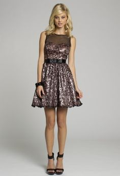 Homecoming and Prom Dresses - Illusion Neck Short A-line Dress with Satin Tie from Camille La Vie and Group USA