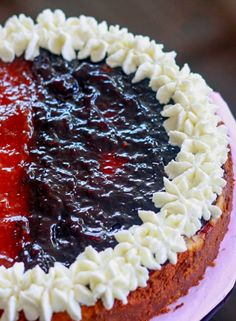 A delicious and gluten free 4th of July Themed Strawberry and Blueberry Cheesecake!