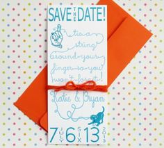 Letterpress Tie a String Save the Dates by Hartford Prints via Oh So Beautiful Paper. Super cute.