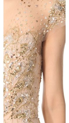 Reem Acra Sequined Tulle Gown//