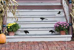 halloween decorations, raven, stair, primitive, crows, birds, black, front porches, vinyl wall decals