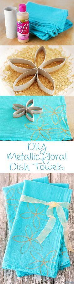 dish towels, craft blogs, flower stamp