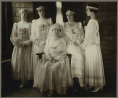 Edsel Ford, son of Henry Ford, married Eleanor Clay in 1916. He was president of Ford Motor Company from 1919 to his death in 1943.  Mrs. Edsel is shown with her bridesmaids.