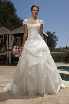 Classic Square Wedding Dress with Short Sleeves and Pick-ups