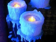 DIY faux dripping candelabra using PVC pipe, styrofoam and tea lights