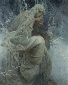 Alphonse Mucha(1860-1939)- A Winter Tale winter tale, alphons mucha, inspir, paint, artist, illustr, art nouveau, alphonse mucha, alfon mucha