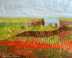 "close up, ""Bothy with Turquoise Roof"" by Effie Galletly as seen at Morven Gallery (Isle of Lewis, Outer Hebrides, Scotland). Photo by Quilt Inspiration: Quilting in Scotland."