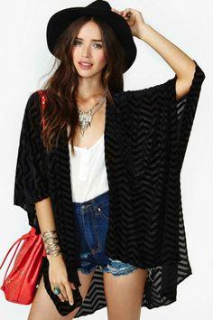 Zig Zag Velvet Kimono