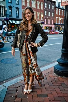 Scarf-print Dress + Utility Jacket l R29
