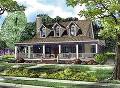 House Plan 62032 | Country Southern Plan with 2039 Sq. Ft., 4 Bedrooms, 3 Bathrooms, 2 Car Garage at family home plans