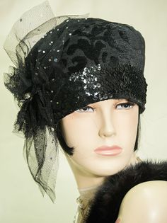 1920s downton abbey vintage inspired black cloche hat gatsby flapper
