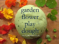 Love this! Garden flower play dough - easy recipe, beautiful idea, sensory play for outdoors