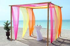 beach wedding orange yellow, yellow weddings, beach weddings, pink and orange beach wedding, pink orang