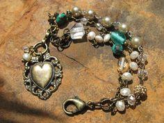 Antique Bronze  Vintage Gemstone Bracelet  Vilde by fleurdesignz