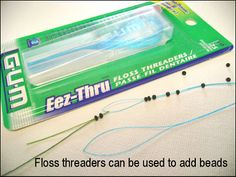 Using a floss threader to add beads to a picot