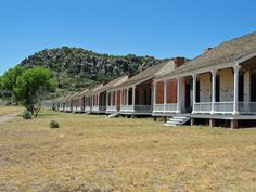 Row of houses that make up the living quarters at Fort Davis National Historic Site - Take a Camping or RVing trip through Big Bend Country!